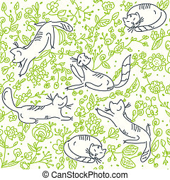 Seamless floral wallpaper with cats and roses