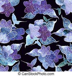 Seamless floral watercolor design pattern. Blue , purple hydrangea on black background.