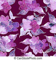 Seamless floral watercolor design pattern. Blue , purple hydrangea on pink background.