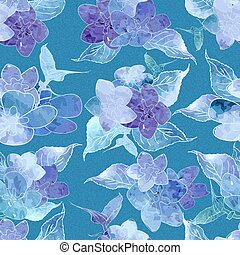 Seamless floral watercolor design pattern. Blue , purple hydrangea on white background.