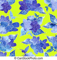 Seamless floral watercolor design pattern. Blue , purple hydrangea on yellow background.