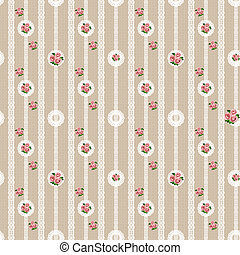Seamless floral white lace pattern on beige