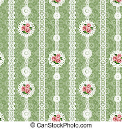 Seamless floral white lace pattern on green
