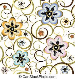 seamless, floreale, bianco, modello