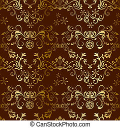 seamless, floreale, marrone, modello