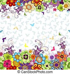 seamless, floreale, primavera, modello