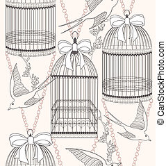 seamless, flores, y, aves, patrón