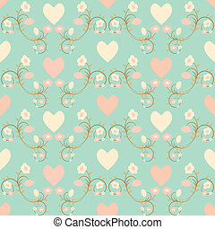 seamless flower and hearts background