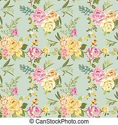 Seamless Flower Background - Shabby Roses - pattern in vector