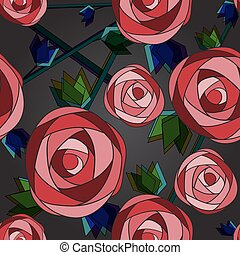 Seamless flower background with roses.
