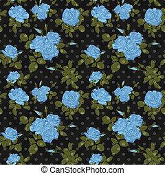 Seamless flower blue roses pattern on black