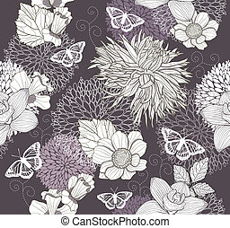 Seamless flower butterfly pattern - Seamless pattern with...