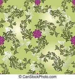 Seamless flower green vector pattern.