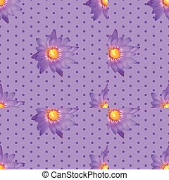 Seamless flower in dots on purple background