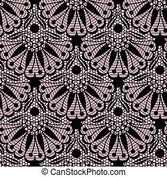 Seamless flower lace pattern on pink background