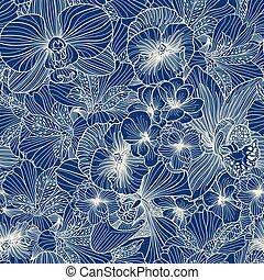 Seamless flower line art pattern
