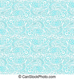 Seamless flower paisley lace pattern on blue background