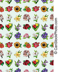 seamless flower pattern, cartoon vector illustration
