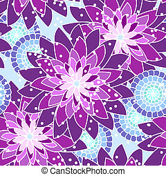 Bold seamless flower pattern in pink, purple and blue, floral pattern
