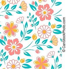 Seamless flower pattern on white background. Ukrainian style