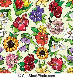 seamless flower pattern  - seamless flower pattern