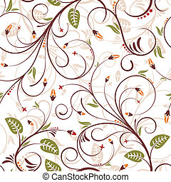 Seamless flower pattern - Flower seamless pattern with bud,...