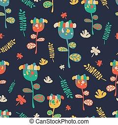Seamless flower retro background pattern in vector Hand drawn