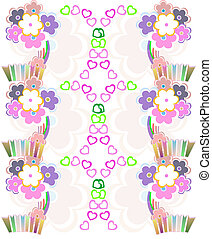 Seamless flower retro background vector pattern