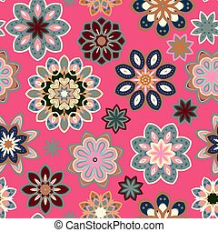 Seamless flower retro pattern in vector. Blue gray flowers on pink background.