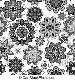 Seamless flower retro pattern in vector. Gray flowers on white background.