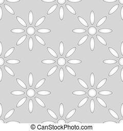 Seamless flower shapes paper cut vector pattern.
