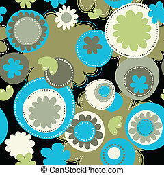 Seamless Flowers and Dots Pattern