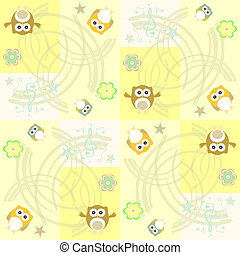 Seamless flowers and owl pattern vector background