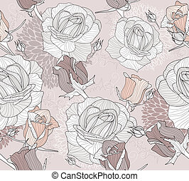 Seamless flowers and roses pattern