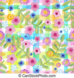 Seamless flowers cosmos on a gingham checks yellow colors.  blue flowers on stripes ornament. Watercolor realistic painting