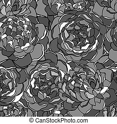 seamless, flowers., experiência preta, monocromático, branca