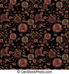 Seamless flowers of roses pattern on black