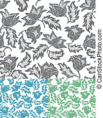 Seamless flowers pattern. Set