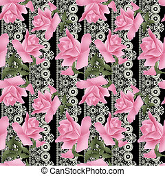 Seamless flowers roses pattern on black lacy