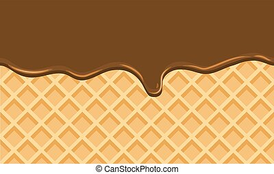 Seamless Flowing chocolate on wafer texture sweet food background