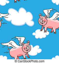 """Seamless cute and fun lying pig cartoon characters with wings to represent the """"when pigs fly"""" saying; great kid wallpaper or fabric."""