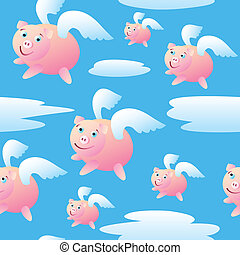 A seamless pattern of pigs with wings flying through the sky.