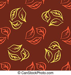Seamless foliage pattern. Gold leaf vector background
