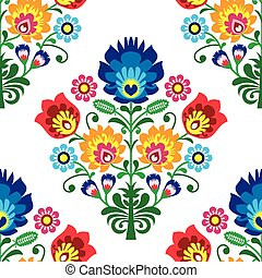 Seamless folk art vector pattern - Polish traditional...