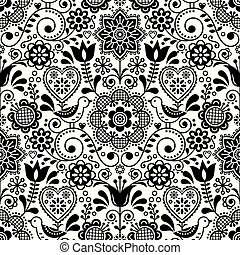 Seamless folk art vector pattern with birds and flowers, Scandinavian black and white repetitive floral design
