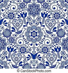Seamless folk art vector pattern with birds and flowers, Scandinavian navy blue repetitive floral design