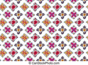 Seamless folk pattern with square elements