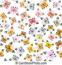 seamless, fond, de, butterfly.