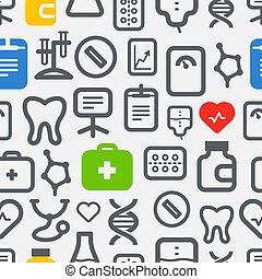 seamless, fond, de, healthcare, icônes, collection