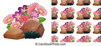 seamless, fond, gerbera, conception, rocher, fleurs roses
